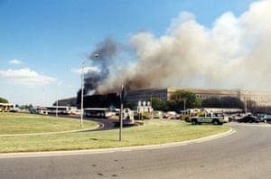 Smoke billows from the Pentagon
