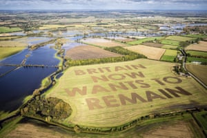 A Led by Donkeys message ploughed in 40-metre high letters in a field at Manor Farm, Water Eaton, Wiltshire, yesterday.