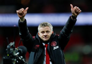 Ole Gunnar Solskjaer celebrates at the end of the match after Manchester United win 1-0.