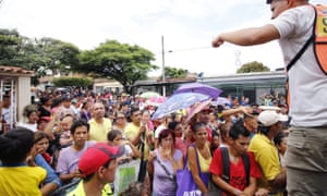 Dozens of Venezuelans waited for assistance in Cucuta, Colombia, on 3 May.