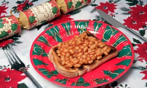 Beans on toast on a Christmas plate