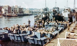 Boats full of US troops waiting to leave Weymouth, Southern England, to take part in the D-Day landings.