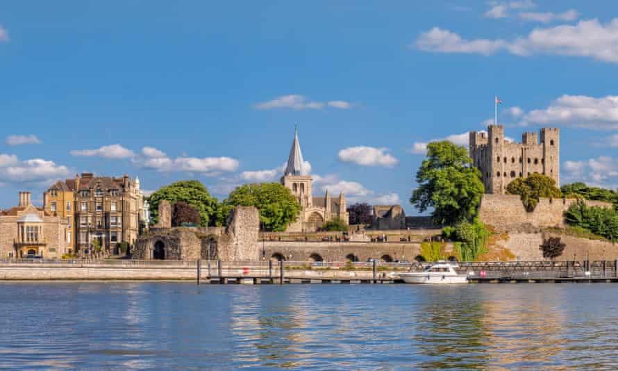 View to historical Rochester across river Medway