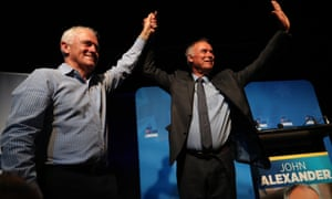 Malcolm Turnbull and John Alexander celebrate their Bennelong byelection victory