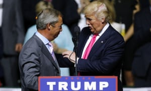 Nigel Farage and Donald Trump at a rally in Jackson, Mississippi