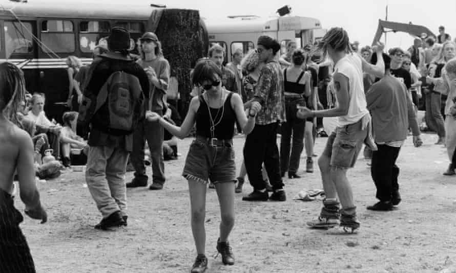 Castlemorton 1992 ... the Malvern Hills beauty spot became the site of Britain's bigest illegal rave. Photograph: Murray Sanders/ANL/Rex/Shutterstock