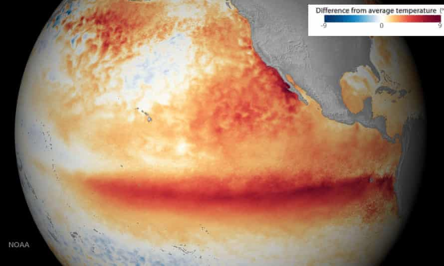 Pacific ocean surface average temperature during an El Niño event in December 2015 compared to 1981-2010 average temperatures.
