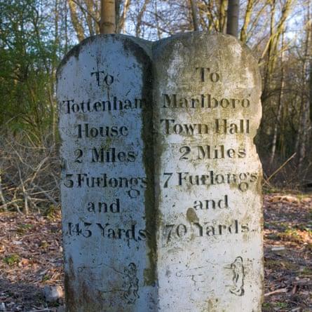 A milestone marker in Savernake Forest.