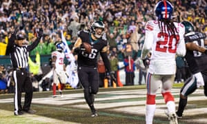 Eagles tight end Zach Ertz reacts after his game-winning touchdown catch in overtime.
