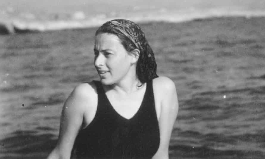 Double life: Forgach's mother, Bruria, bathing in the Mediterranean in 1943 while in Lebanon
