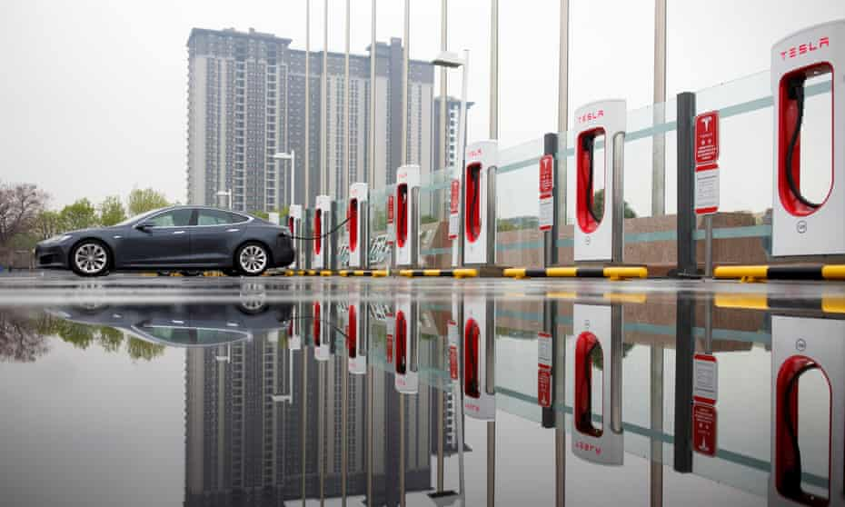 A Tesla at a charging point in Beijing, China.