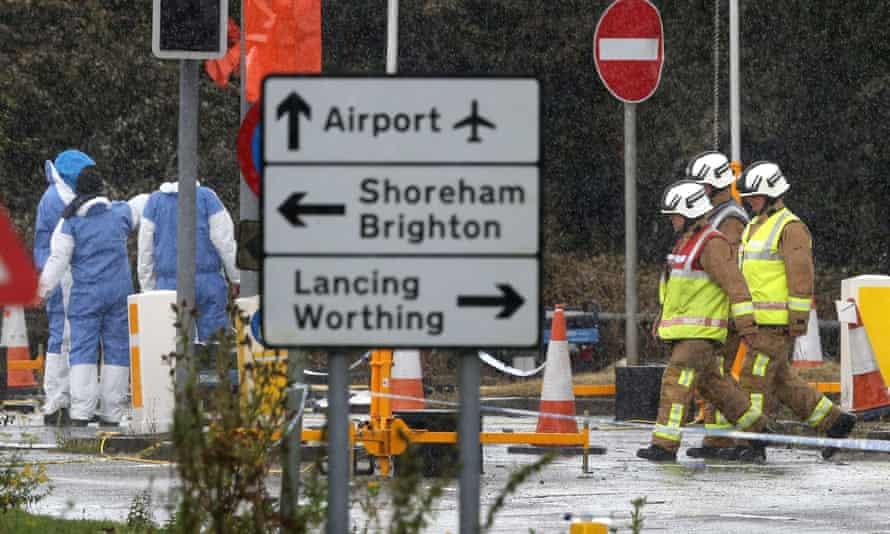 Emergency services at scene of Shoreham airshow crash in 2014.