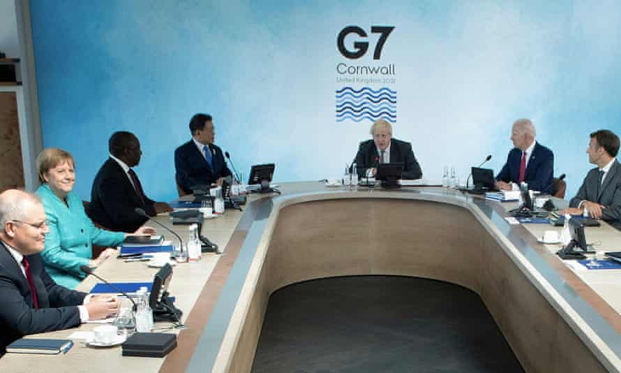 Scott Morrison with other world leaders at the G7 summit in Cornwall