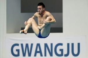 Gwangju, South Korea. David Boudia of the US competes in the semi-finals of men's 3-metre springboard diving at the world aquatics championships