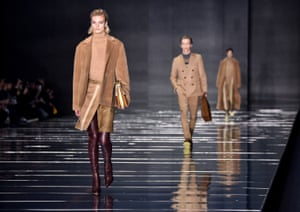 Models walk the runway at the Hugo Boss fashion show during New York fashion week.
