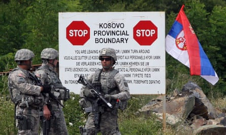 Kfor soldiers at a border crossing between Serbia and Kosovo