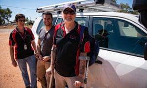 Dr Lloyd Einsiedel, left, Joel Liddle, centre, and Shane Schinke of the Baker Institute in central Australia have been raising awareness of HTLV-1.