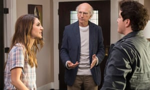 Nasim Pedrad, Larry David and Julie Goldman in Curb Your Enthusiasm.