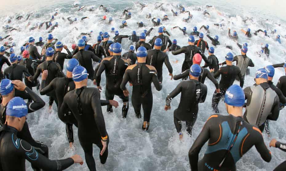 Ironman competitors in Nice enter the water
