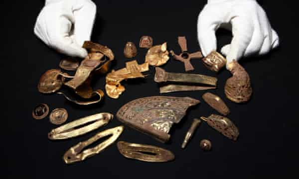 Objects from the Staffordshire hoard, discovered by detectorist Terry Herbert in 2009. Although lawfully reported, some archaeologists were unhappy to find that Herbert had dug for five days and recovered almost 250 artefacts before contacting the authorities.