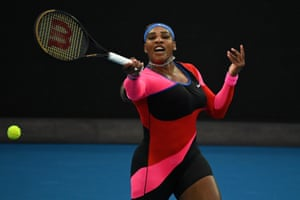Serena Williams of the United States in action during action against Halep.