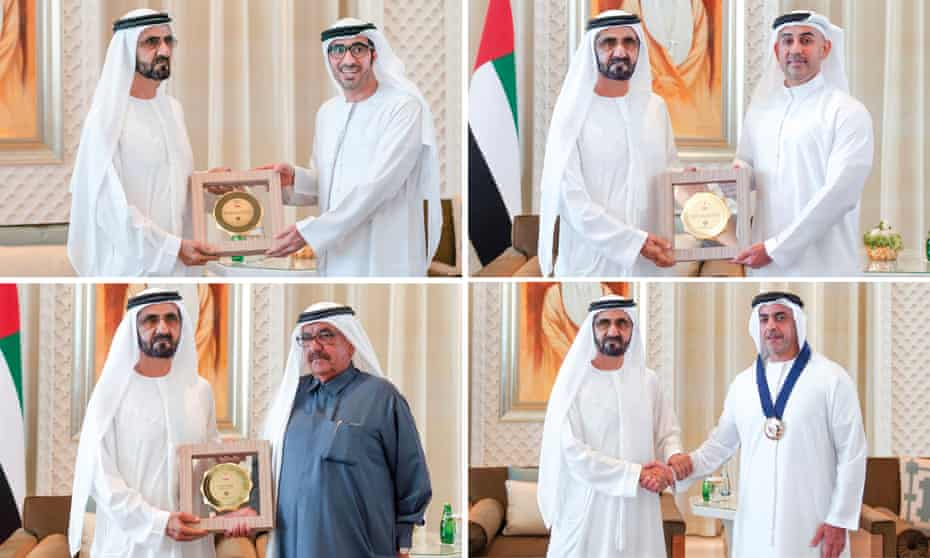 Sheik Mohammed bin Rashid al-Maktoum of Dubai hands out the awards
