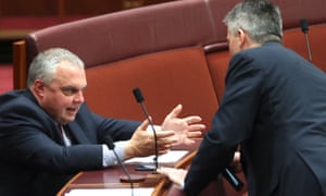 Stirling Griff talks to Mathias Cormann in the Senate. He doesn't want tax cuts to be 'fleeced off by high power prices'