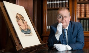 Ian Hislop in the prints and drawings study room at the British Museum.
