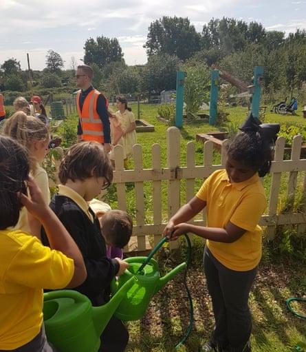 Children work as a team in the garden, taking responsibility for nurturing the plants.