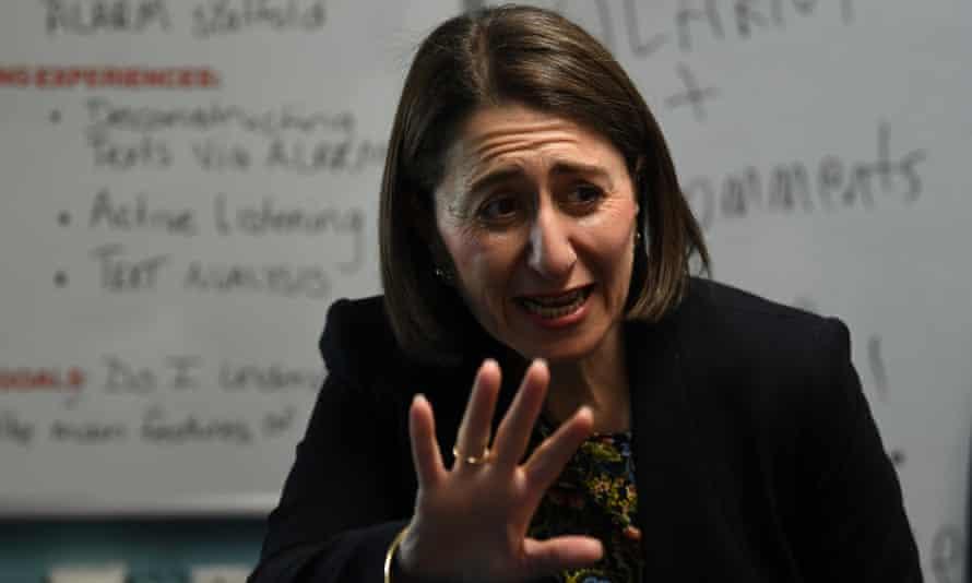 Gladys Berejiklian speaks to school students on Monday