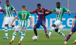 Ansu Fati in action for Barcelona against Real Betis last month. 'The idea is for great players to stay,' says Joan Laporta.