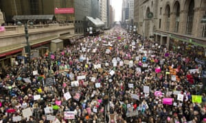 Massive crowds march past Grand Central Station on 42nd Street during the Women's March to protest the election of Donald Trump as President of the United States on January 21, 2017 in New York City.