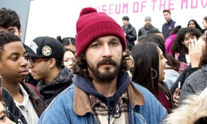 Shia LaBeouf at his He Will Not Divide Us event