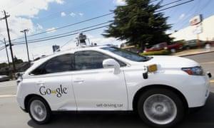 A Lexus RX450h modified with Google's autonomous car software and sensors.