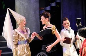 2011Laura Elphinstone (Griselda), Suranne Jones (Marlene) and Lisa Kerr (Waitress) in Top Girls by Caryl Churchill @ Minerva Theatre, Chichester. (Opening 30-06-11)