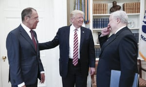 10 May Flynn may be gone but the issue of Trump's links to Russia is not. The Russian foreign minister, Sergei Lavrov, joins Trump and Kislyak in the Oval Office.