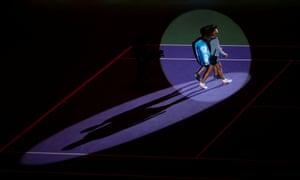 Naomi Osaka takes to the court.