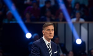 Maxime Bernier, the People's party of Canada leader, takes part in a debate in Gatineau, Quebec, on 10 October.