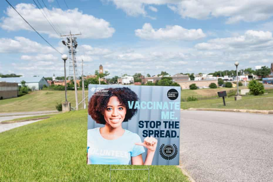 Posters advertising the availability of the COVID19 vaccine litter the City of Tuskegee, Alabama on Thursday, May 20, 2021. Photographer: Andi Rice/The Guardian