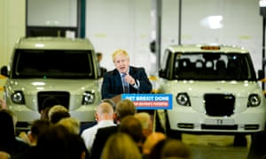 Boris Johnson makes election speech at electric car plant in Coventry.