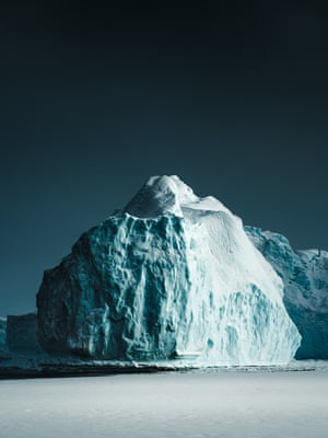 Ice Illumination (2018) Deep blue contours accentuated in the soft arctic light of winter, Ilulissat Icefjord, Greenland