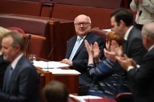 Senator George Brandis is acknowledged by his senate colleagues after giving his valedictory speech