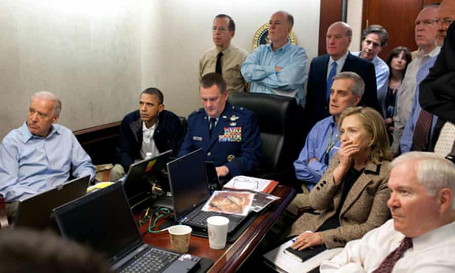 Obama, vice-president Joe Biden (left), secretary of state Hillary Clinton and members of the national security team monitor the mission against Osama bin Laden, May 2011