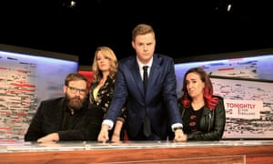 Tonightly with Tom Ballard (front) pushes the envelope with its edgy comedy on ABC.
