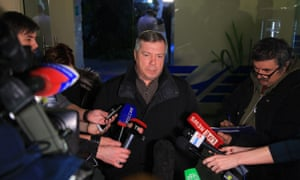 Vasily Golubev, governor of the Rostov region, speaks to journalists at the airport of Rostov-on-Don, Russia