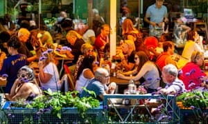 People eating at a restaurant