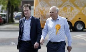 Nick Clegg campaigns with Vince Cable in Twickenham.