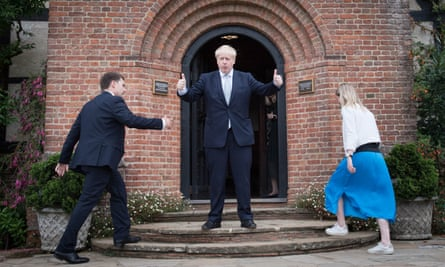 Boris Johnson during a tour of the RHS garden in Wisley, Surrey, on 25 June.