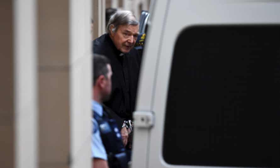 George Pell leaves court