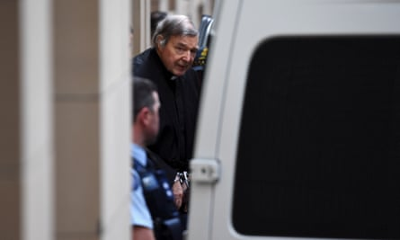 George Pell leaves court